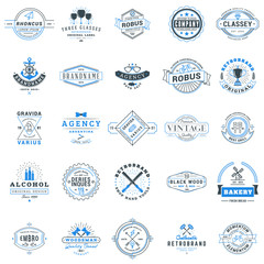Set of retro logotype templates. Collection of 25 items. Typographic badges. Icon symbols. Labels. Black and Blue colors