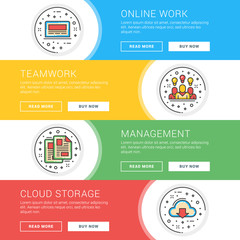 Set of flat line business website banner templates. Template for wesite headers. Vector illustration. Modern thin line icons in circle. Online Work, Teamwork, Management, Cloud Storage
