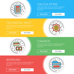 Set of flat line business website banner templates. Template for wesite headers. Vector illustration. Modern thin line icons in circle. Calculating, Technical Help, Finance, Working
