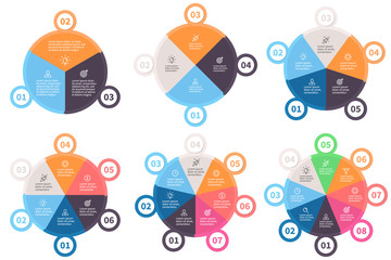 Infographic templates. Pie charts with 3 - 8 parts