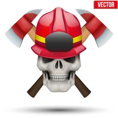 Human skull with firefighter helmet