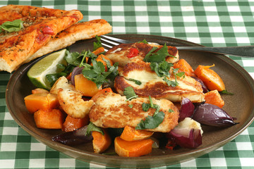 Haloumi with roast vegetables