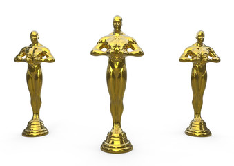Golden statue award / 3D rendered illustration of golden statue award. The composition is isolated on a white background with soft shadows