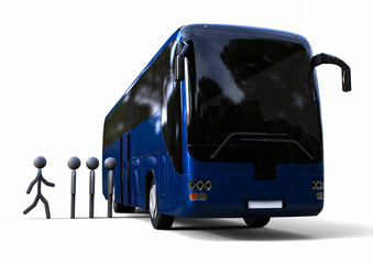 Loading Bus / 3D render image representing a bus queue