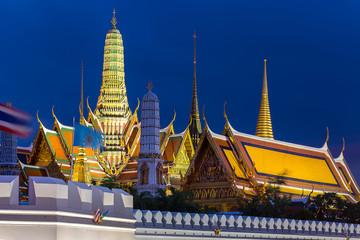 Wat Phra Kaew,buddha temple of Bangkok Thailand, with blue sky
