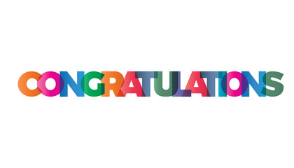 The word congratulations. Vector banner with text colored rain