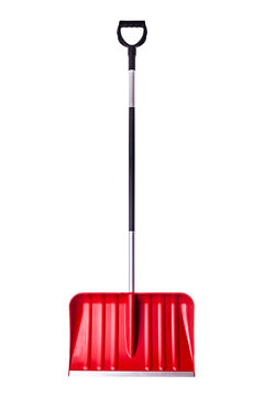 Red snow shovel