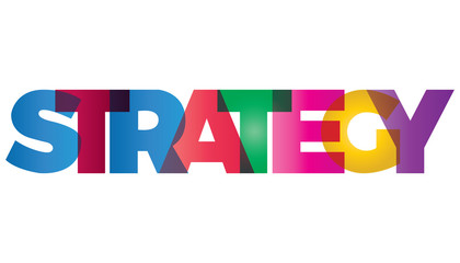 The word strategy. Vector banner with text colored rainbow