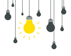 Bulb icons on white background. Vector illustration. Idea concept