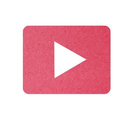 Video play button recycled paper craft stick on white background