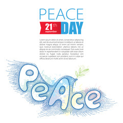 Vector dotted peace dove with olive branch isolated on white background. Poster for international Day of peace in dotwork style. Greeting design with traditional symbol of peace.