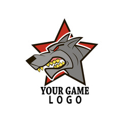 logo game, wolf head on zvezdy.vektor background for you