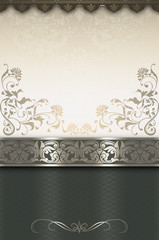 Decorative background with floral patterns and borders.