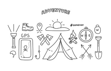 Line style objects for adventure and travel. Vector illustration