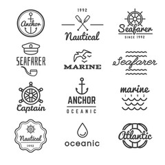 Nautical vector logos in hipster style