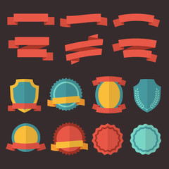 Wall Mural - Retro badges, labels and ribbons. Vector set in flat style