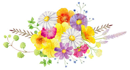 hand painted watercolor mockup clipart template of wild flowers