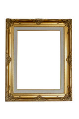 gold wood frame  on isolated white background with clip path lin