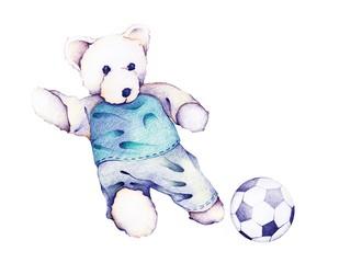 Hand Drawn of Teddy Bear Playing Soccer