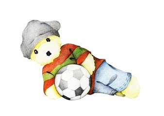Hand Drawn of Cute Teddy Bear Playing Soccer Ball