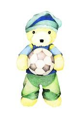 Hand Drawn of Teddy Bear Holding A Soccer Ball