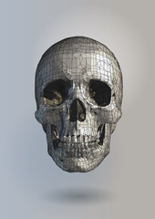 Polygonal vector skull with pen drawing style