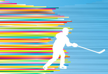 Hockey player abstract vector background illustration with color