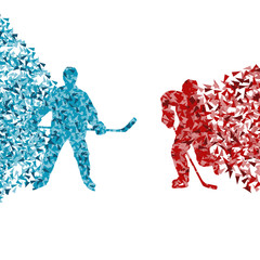 Hockey player abstract vector background illustration concept ma