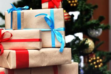 gift under tree christmas ball
