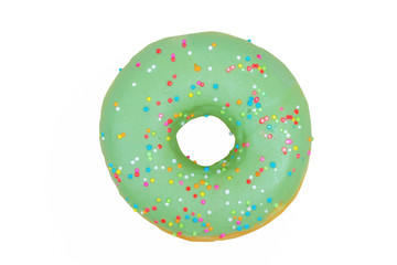 green donut on white background ,with clipping path
