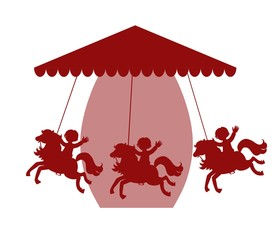 Carousel with horses. Vector illustration.