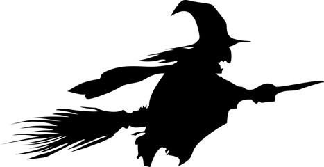 Vector black silhouette of a beautiful witch on a broomstick isolated on a white background. illustration