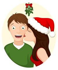 Vector illustration of a cartoon couple kissing beneath holiday mistletoe.