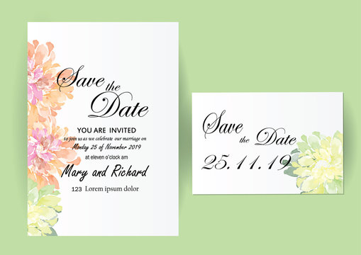 invitation card .watercolor flowers romantic concept ,vintage  for object or background