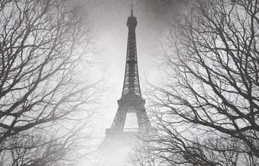 Rain in Paris - black and white picture. Mysterious picture.