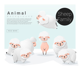 Cute animal family background with Sheep , vector , illustration