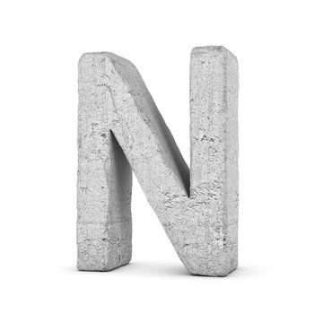 Concrete letter N isolated on white background
