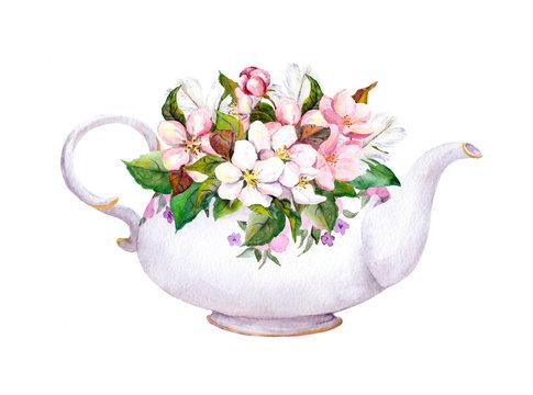 Vintage tea pot - apple, cherry flowers. Watercolor