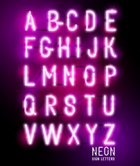 Retro glowing neon pink sign letters. Vector alphabet.