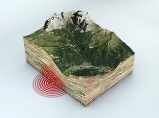 Terremoto sezione terreno, scossa, sisma. 3d rendering