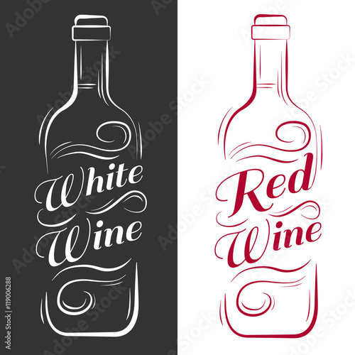 Wine Bottle White Red Vintage Vector Engraving Illustration Advertising Design For