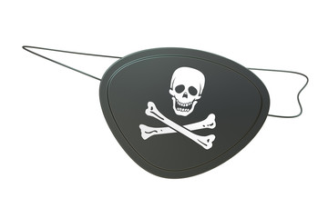 Black leather pirate eye patch, 3D rendering