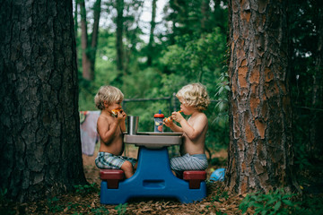 Two small boys sitting and eating at a picnic bench in between two tree trunks