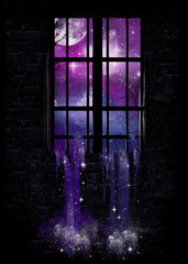 Stars cascading through a window