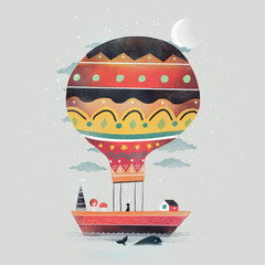 Illustration of a hot air balloon on top of a boat