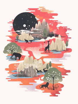 Illustration of animals in jungle