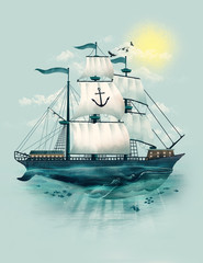 Illustration of sailing ship with whale underneath