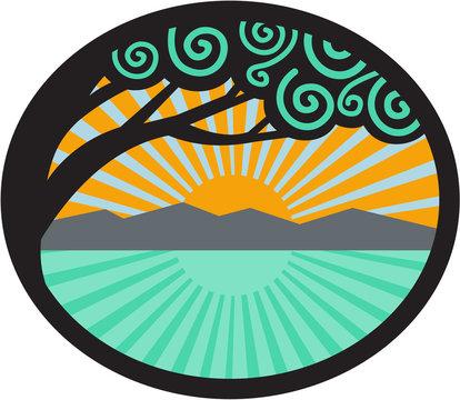 Monkeypod Tree Mountain Sea Sunrise Oval Retro