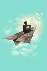 Artwork of person flying into the sky on paper plane