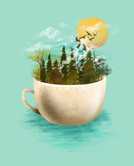 Surreal artwork of landscape in a teacup